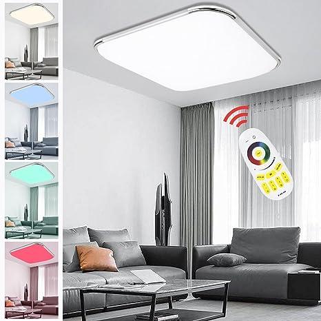 Hengda® – Lámpara de techo LED RGB con mando a distancia color de luz y brillo ajustable, moderna, adecuada para iluminación de techo para comedor, ...