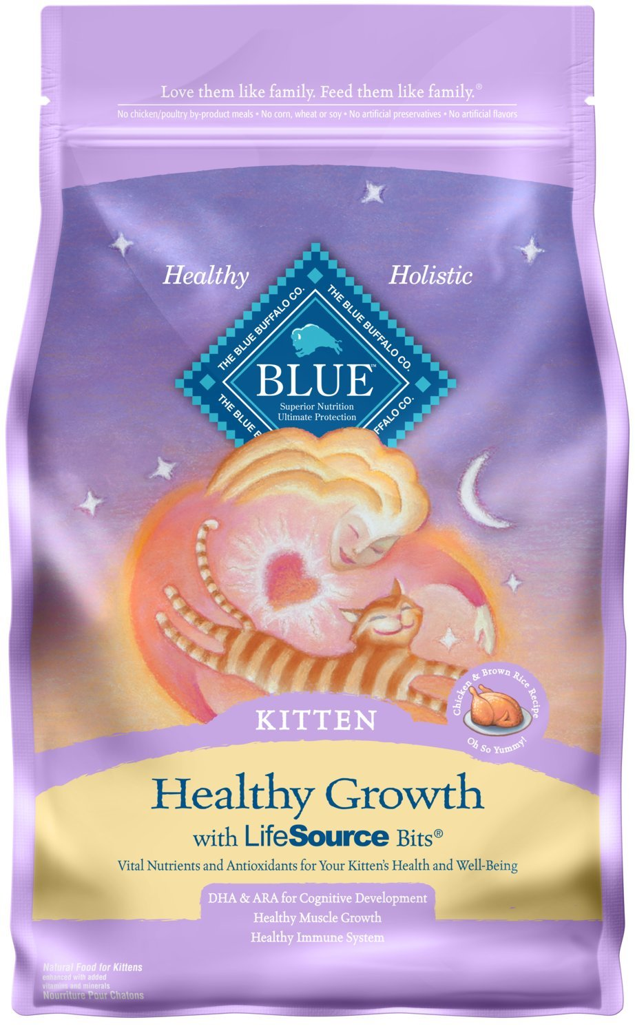 Blue Buffalo Healthy Growth Natural Kitten Dry Cat Food, Chicken & Brown Rice 7-lb by Blue Buffalo