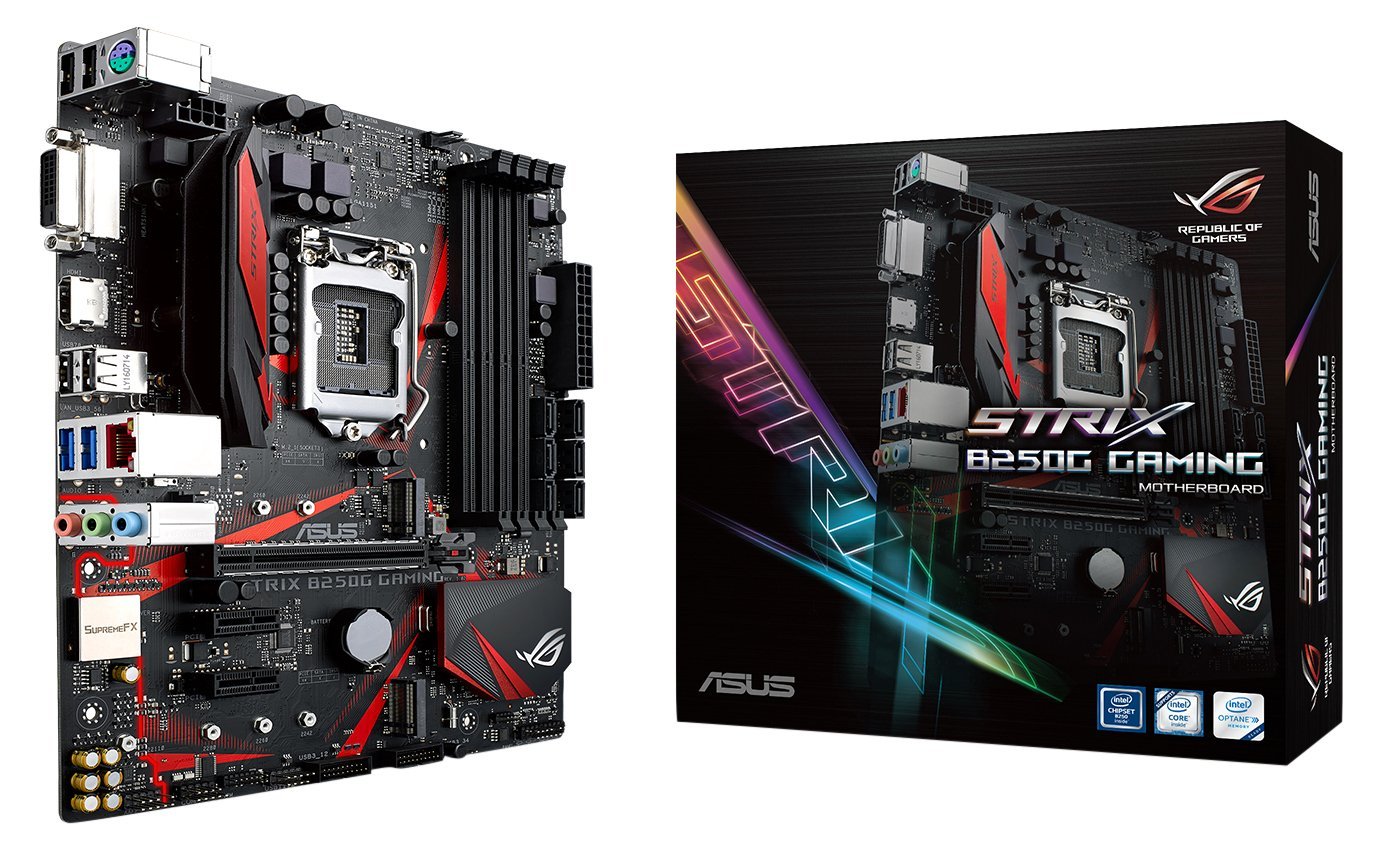 ASUS ROG STRIX B250G GAMING LGA1151 DDR4 HDMI DVI M.2 Micro-ATX Motherboard with USB 3.1 by Asus