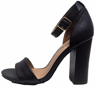 81220f271bbd BAMBOO Embark-19m Open Toe Ankle Strap Block Chunky High Stack Heel Shoe  Sandal Black