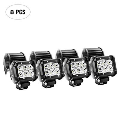 Nilight LED Light Bar 8PCS 18W 1260lm Spot led pods Driving Fog Light Off Road Lights Bar Jeep Lamp,2 years Warranty: Automotive