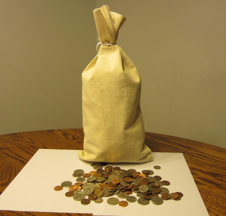 "2 CANVAS BANK COINS  MONEY SACK BAG 12/"" BY 19/"" DEPOSIT CHANGE BAGS TRANSIT"