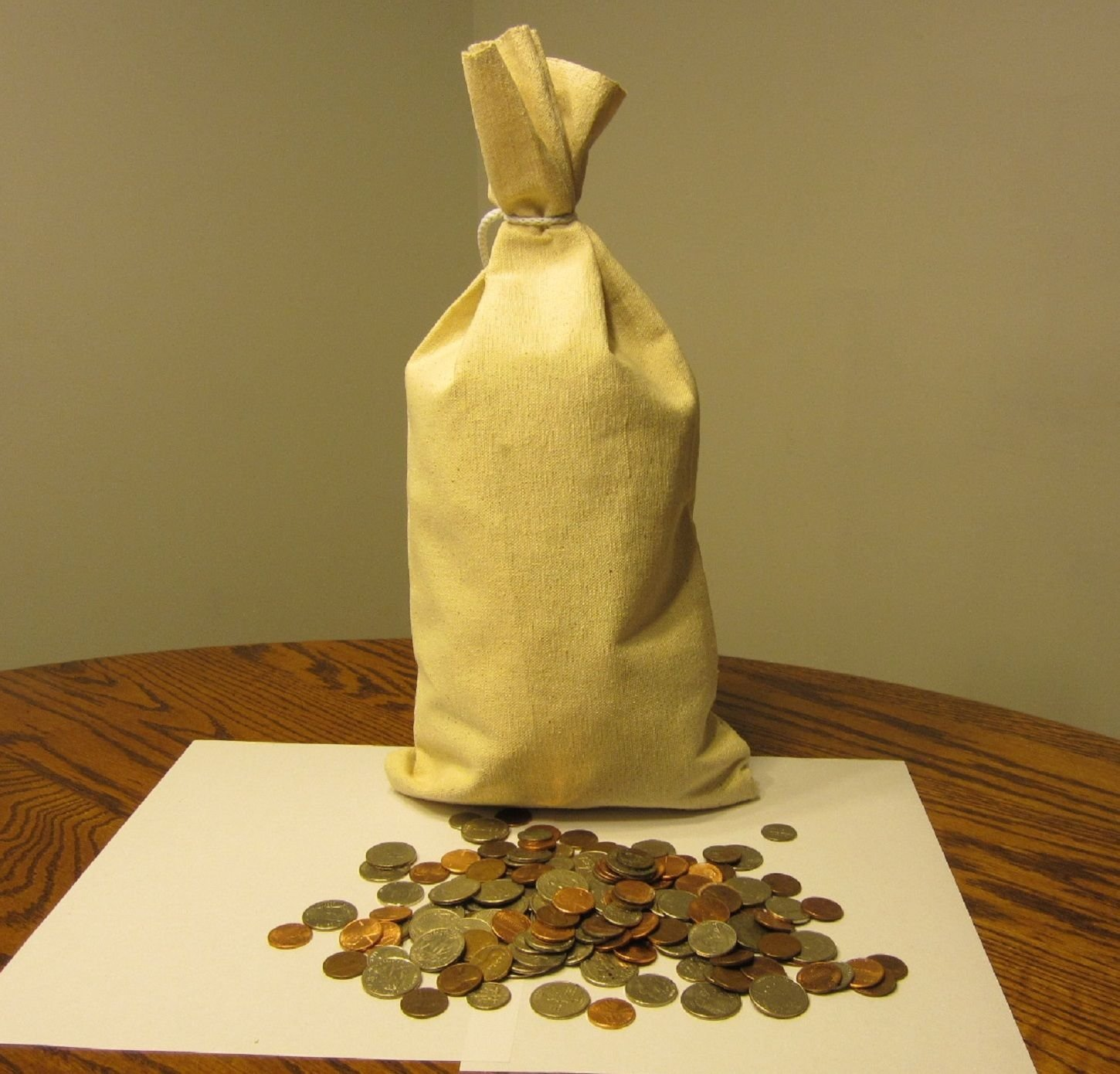 3 Canvas Bank Coin Money Sack Bag 9'' By 17.5'' Deposit Change Bags Transit by Transit Sacks