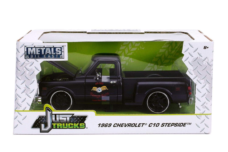 Jada Chevrolet C-10 Stepside Pick Up 1969 Garage Nuts matt schwarz Modellauto 1:24 Toys