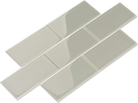 Amazon Com Giorbello Glass Subway Backsplash Tile 3 X 6 Light Gray Home Kitchen