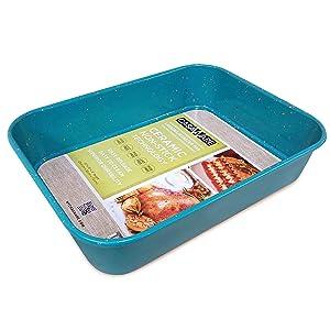 casaWare Ceramic Coated NonStick Lasagna/Roaster Pan 13 x 10 x 3-Inch (Blue Granite)