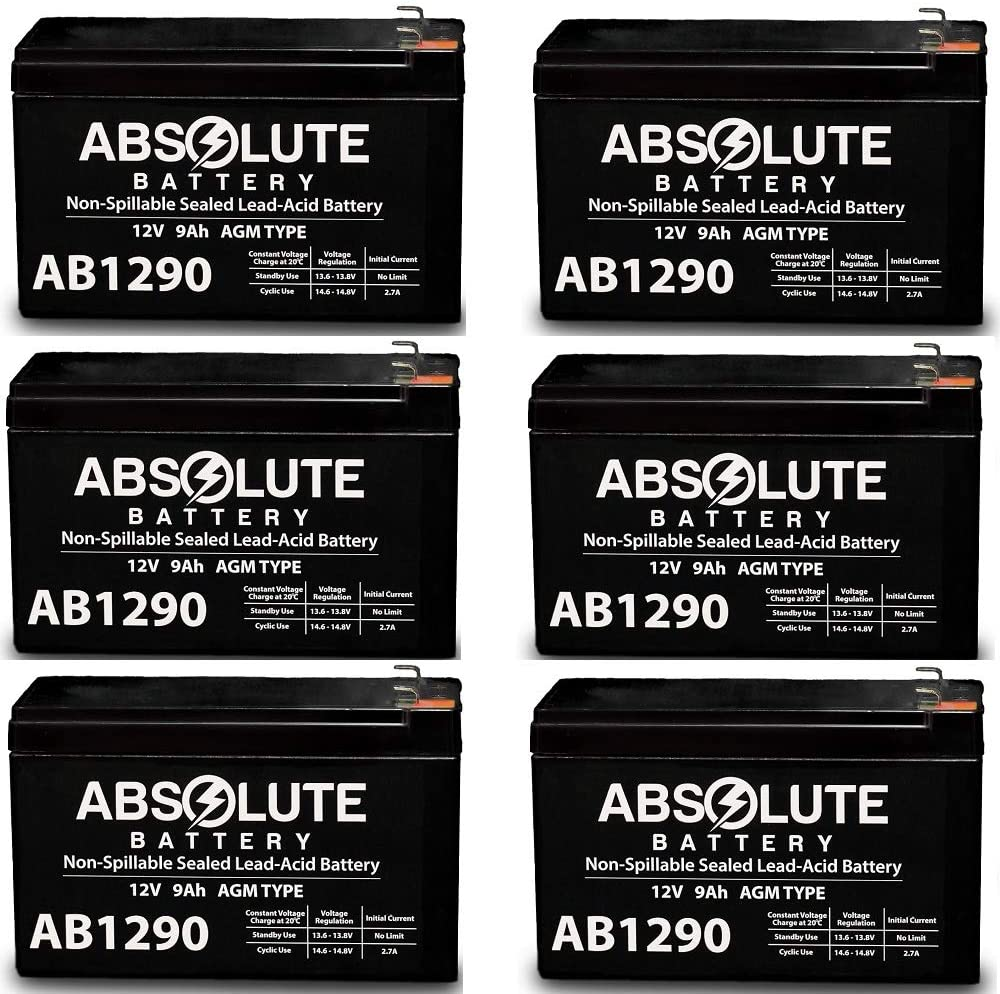 6 Pack AB1290 12V 9AH SLA Battery Replacement for IBM Office Pro 350 UPS