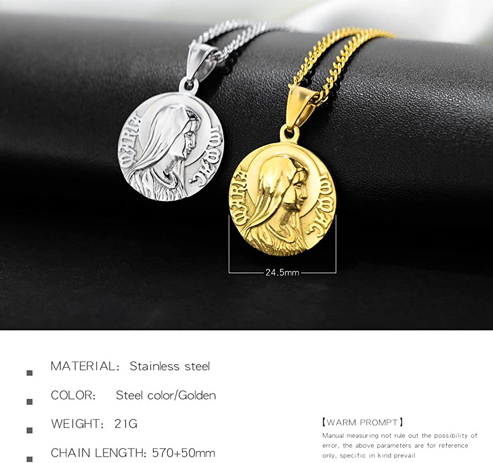 TEMICO Serenity Prayer Stainless Steel Virgin Mary Medal Pendant Necklace Women Men Religious Jewelry