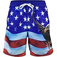 VBRANDED Men's American Flag Board Shorts Assorted US Patriotic Designs