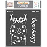 CrafTreat Llama Stencils for Painting on Wood - Llama Zing Home Decor Stencil - 6x6 Inches - DIY Home Decor Decorative Animal