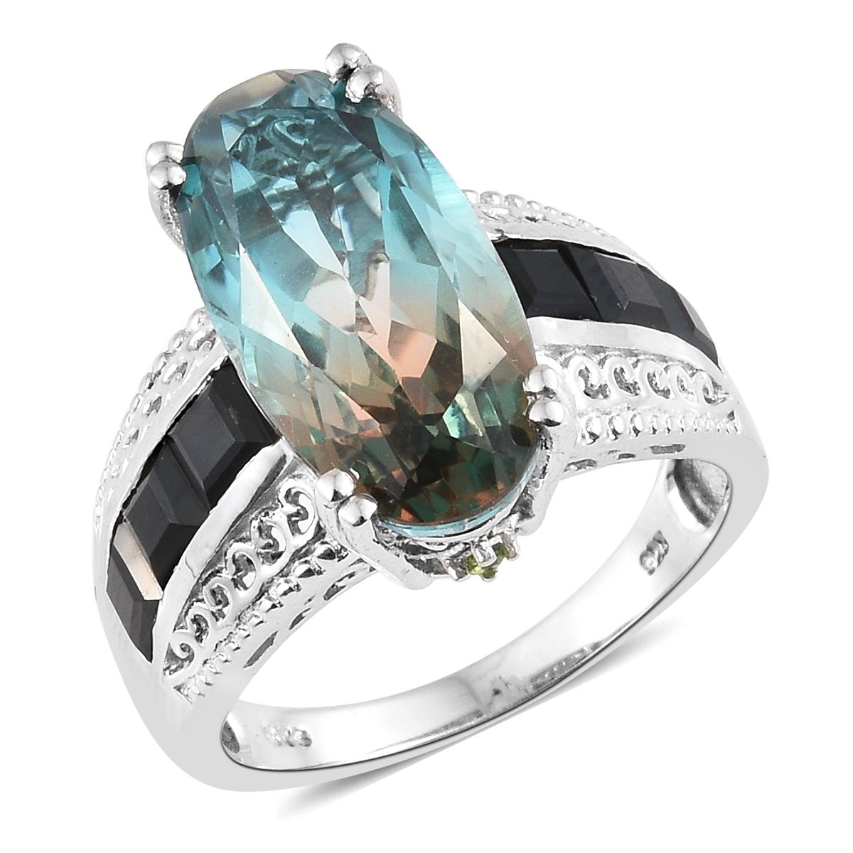 925 Sterling Silver Platinum Plated 10.9 Cttw Oval Aqua Terra Costa Quartz, Multi Gemstone Ring Size 10