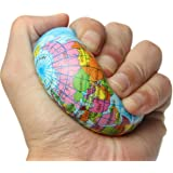 REALACC Earth Globe Planet World Map Foam Stress Relief Bouncy Press Ball Geography Toy