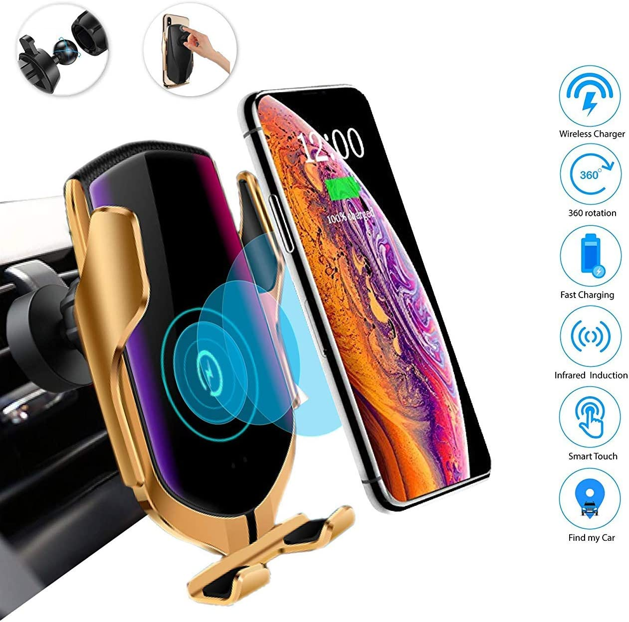 Silver DHong Smart in-Car Mobile Phone Holder IR Sensor Automatic Clamping Plus 10W Qi Wireless Fast Charging Car Charger Compatible for iPhone Xs//Max//XR//8//8 Plus//Galaxy S9//S9+//S8//S8+//Note9//S7