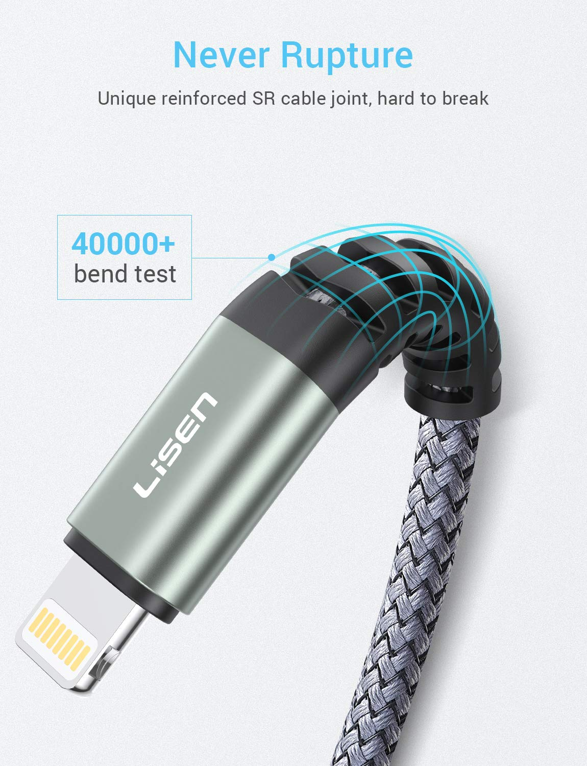 LISEN Lightning to USB-A Cable 6ft, Apple MFi Certified for iPhone Charger, Nylon Braided USB Fast Charging Cord Compatible with iPhone X/Xs Max/XR / ...