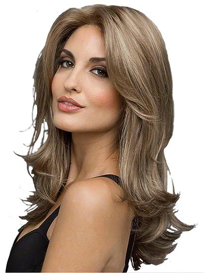 1234 Peluca de onda, peluca delantera lisa de encaje sintético, color marrón natural,