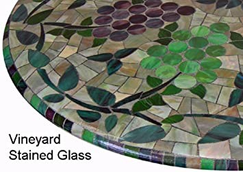 Mosaic Table Cloth Round 36u0026quot; To 48u0026quot; Elastic Edge Fitted Vinyl  Table Cover Vineyard
