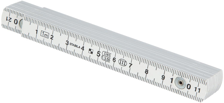 metrische Skala STABILA Kunststoff-Gliederma/ßstab Type 1107 wei/ß 2 m