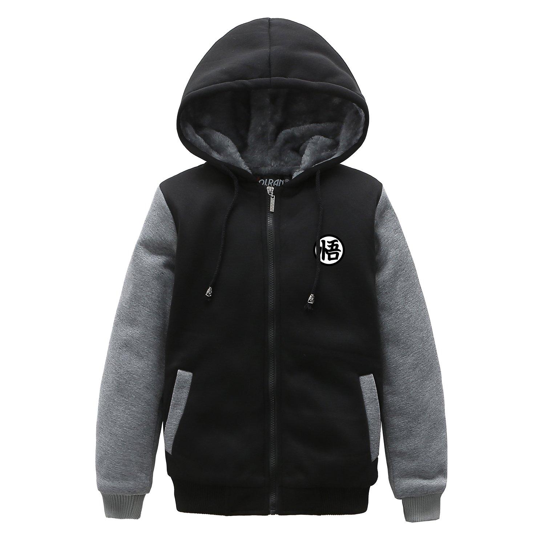 Holran Anime Dragon Ball Z Son Goku Thicken Jacket Winter Hoodie for Kids (Medium, Black&Grey)
