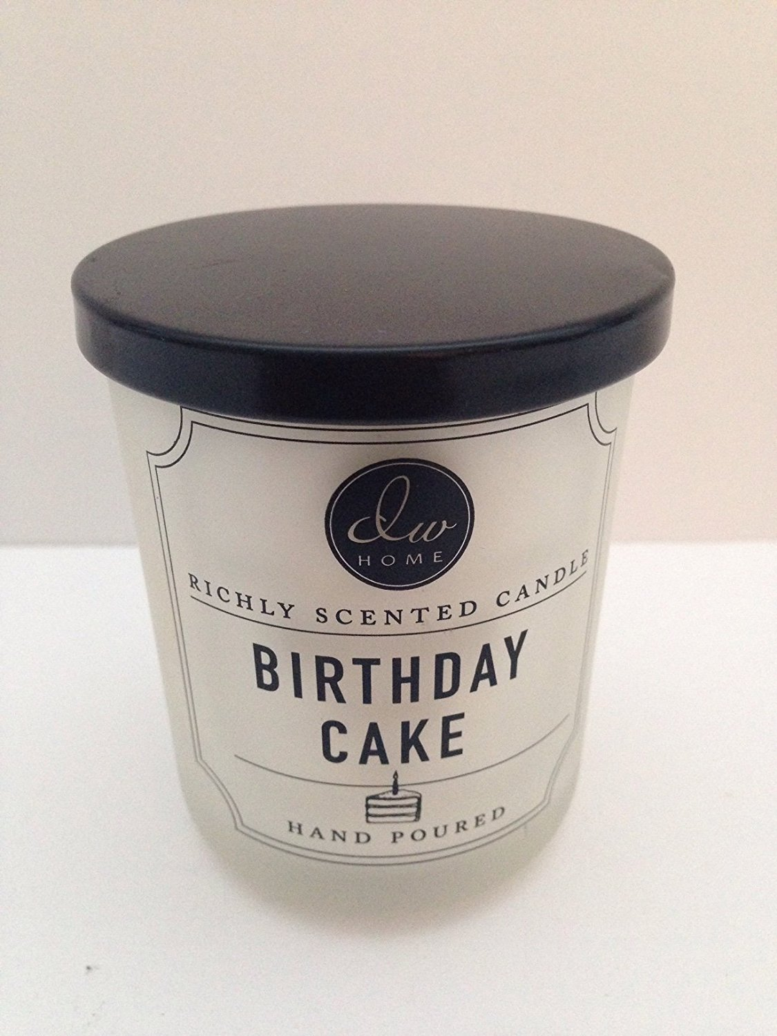 Amazon Convenient Travel Size BIRTHDAY CAKE Vanilla Scented Candle In Frosted White Jar Black Lid Home Kitchen