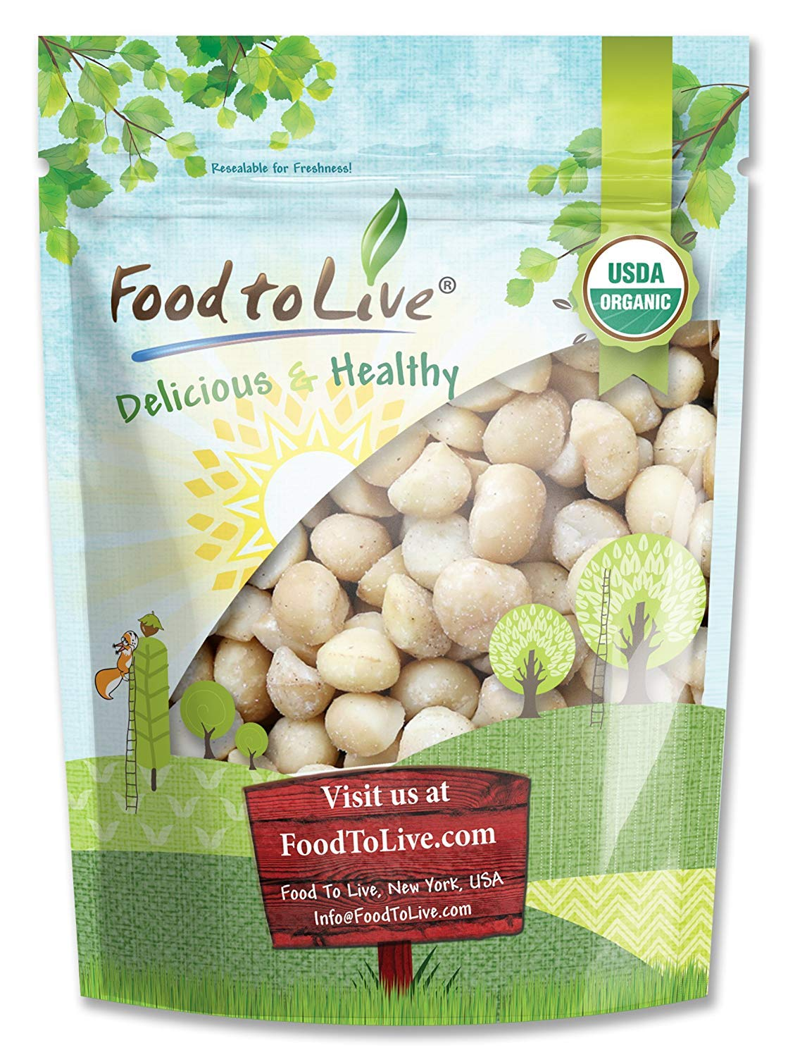 Organic Macadamia Nuts, 8 Ounces - Non-GMO, Kosher, Raw, Vegan by Food to Live