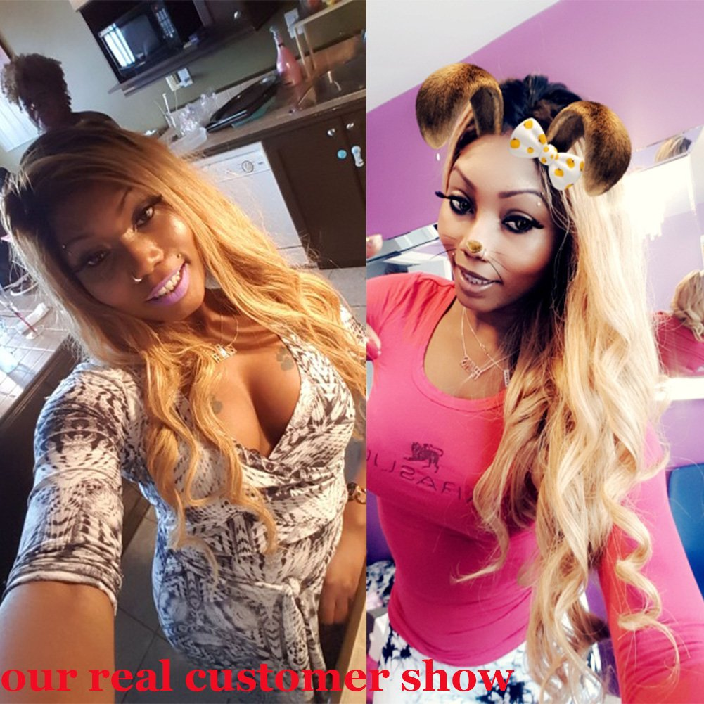 Full Lace Body Wave Human Hair Wigs Glueless Lace Front Wig 1B/27 Color 180% Density with Baby Hair for Black Women (24', full lace wig) by Fantasty Hair (Image #3)