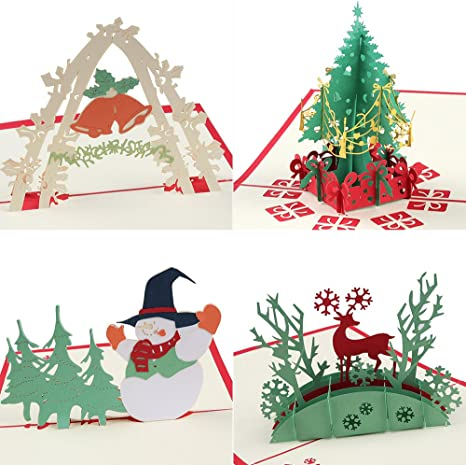 Coogam Pop Up Christmas Card with Envelope Set of 4 - Handmade Paper Craft Get Well Soon Cut out Greeting Card for New Year Holiday Gift - Feature ...