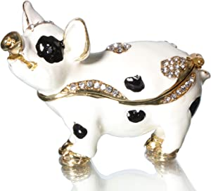 Waltz&F Spotted Pig Figurine Collectible Hinged Trinket Box Bejeweled Animal Hand-Painted Ring Holder Decoration