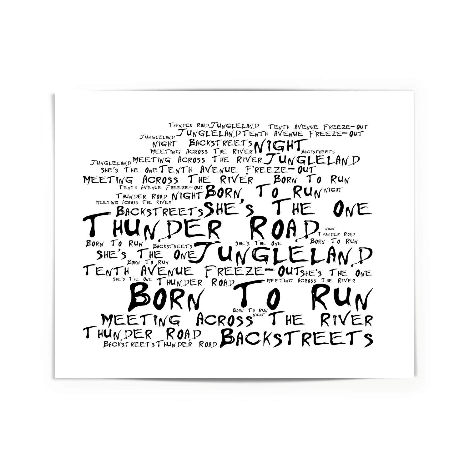 Bruce Springsteen Poster Print - Born to Run - Lyrics Gift Signed Art