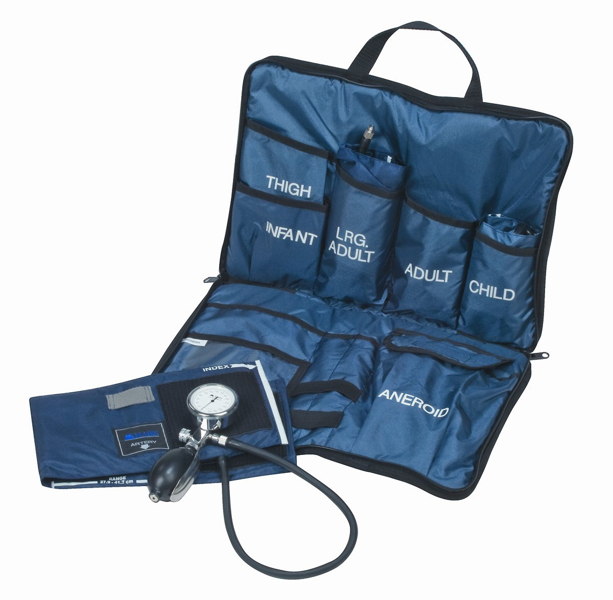 MABIS Medic-Kit3 EMT and Paramedic First Aid Kit with 3 Calibrated Nylon Blood Pressure Cuffs, Blue