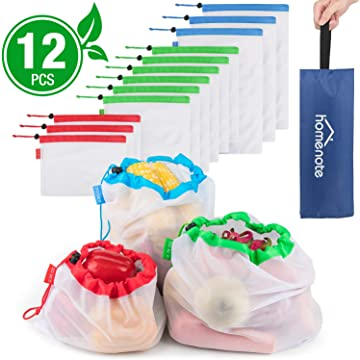 HOMENOTE Reusable Produce Bags 12Pcs, Eco-Friendly Mesh Grocery Bags with Colorful Tare Weight Tags, Lightweight and Washable