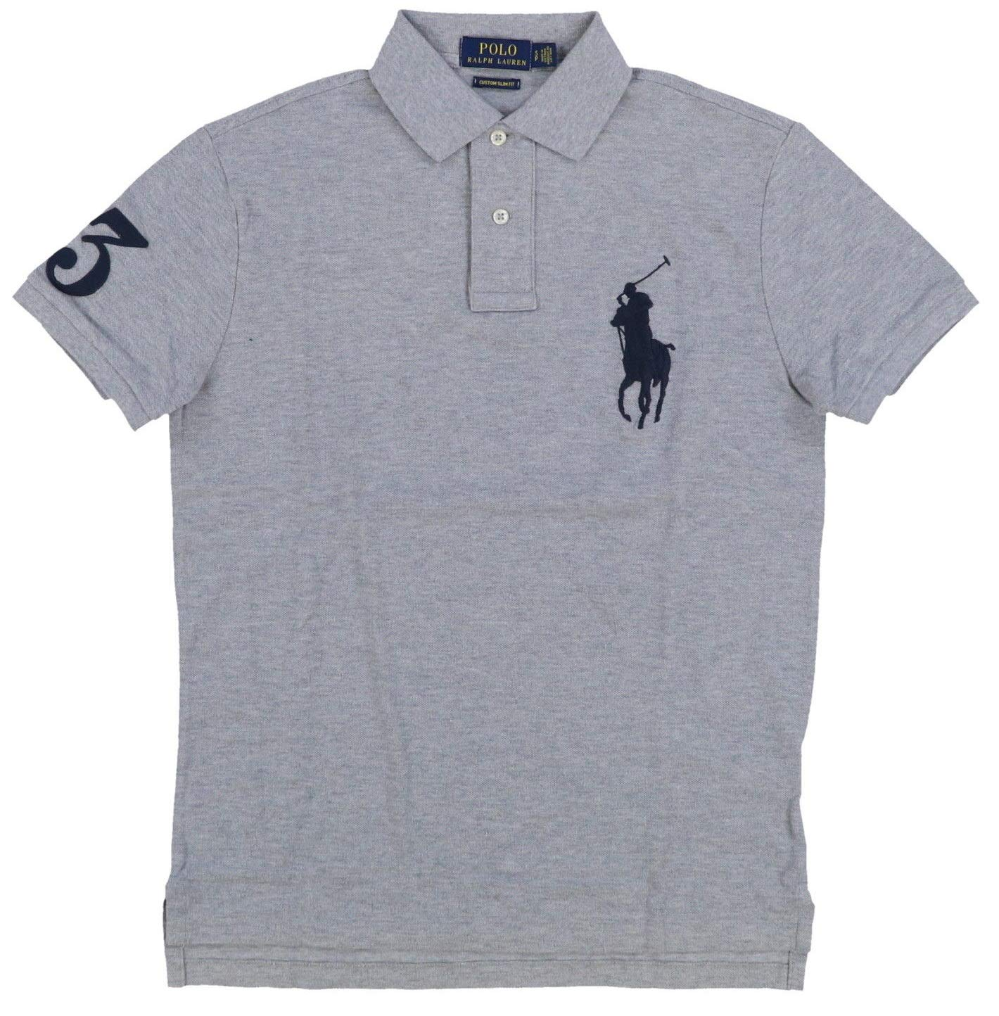 76348291 Galleon - Polo Ralph Lauren Mens Big Pony Custom Slim Fit Mesh Polo Shirt ( Large, Grey Heather)