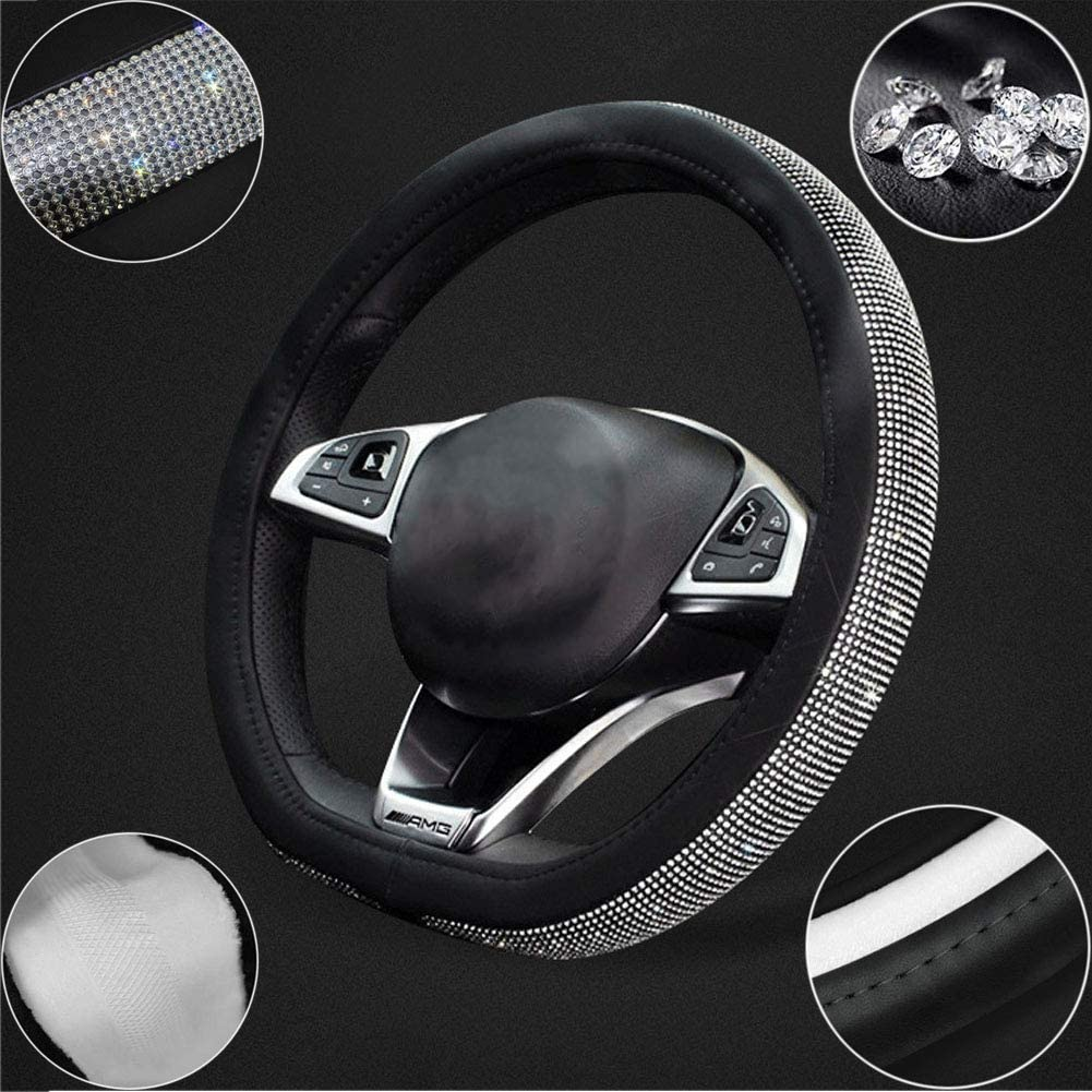 D-shape Diameter 15 Inch//38CM Luxurious Enjoyment of The Nobility LZQpearl D-type Steering Wheel Covers Inlaid Fashion Quality Rhinestones