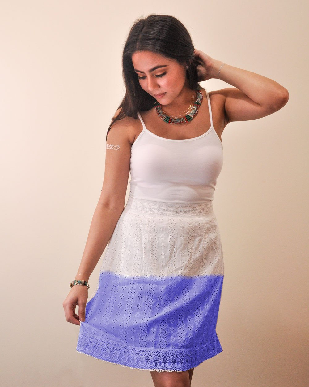 SIVALYA Ibiza Organic Cotton Eyelet Skirt 100% Organic Cotton Womens High Waist Mini Skirt | Blue White Ombre | Size Small