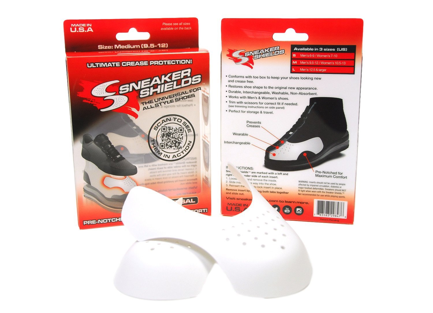 6 Pack - Sneaker Shields - Sneaker Protector Toe Box Decreaser, Anti Crease Wearable Inserts for Shoes - Keep Your Kicks Crease Free - Pre Notched Universal (Medium (Men's 9.5-12 / Women's 10.5-13))