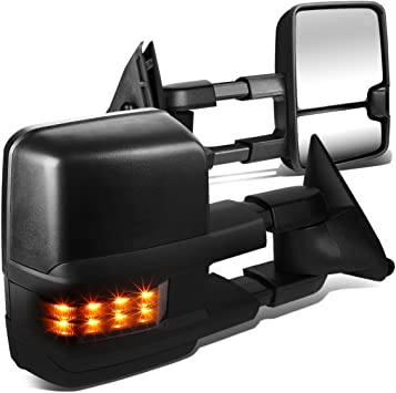 Chrome Tow Side Mirrors for 88-98 Chevy GMC C//K Power LED Signal Spot Lamps