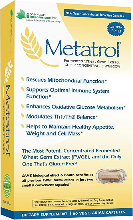 American BioSciences Metatrol, Mitochondrial Rescue and Daily Immune System Support Fermented Wheat Germ Extract - Super Concentrate, 60 Vegetarian Capsules, 41mg of FWGE-SC per Serving