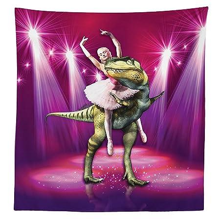 1f0980eee8fe Animal Decor Tablecloth Ballerina Dancing with a Dinosaur under Neon ...