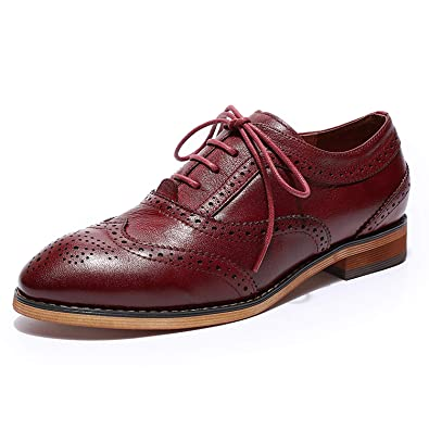 5301b11089f5c Mona Flying Women's Leather Perforated Lace-up Oxfords Brogue ...