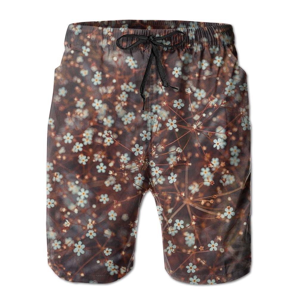Mens Mini Flower Pattern Shorts Elastic Waist Pockets Lightweight Beach Shorts Boardshort