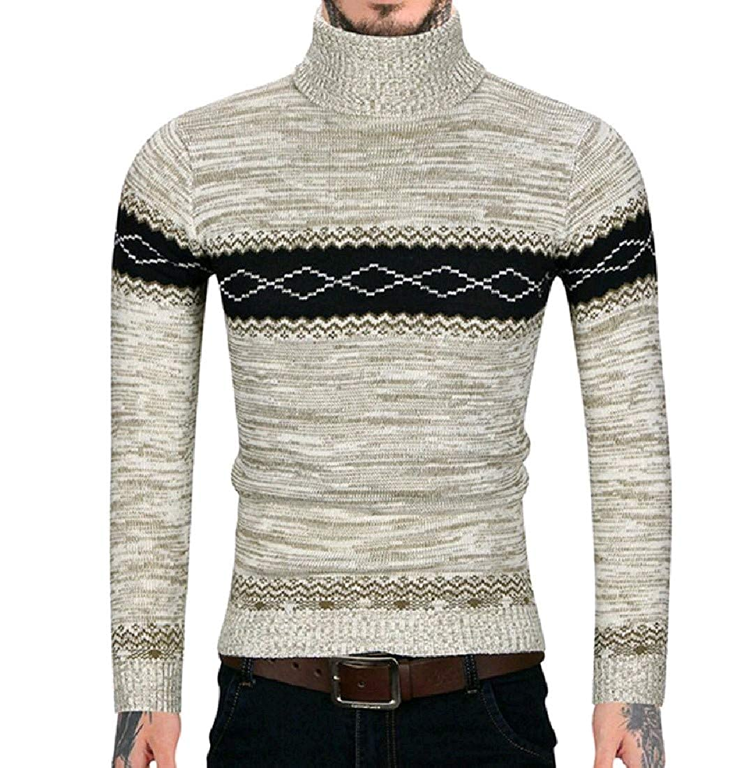 YUNY Mens Turtleneck Britain Knitted Pullover Pullover Tshirt Top Light Grey XL
