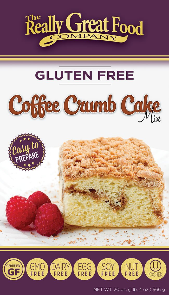 Really Great Food Company - Gluten Free Coffee Crumb Cake Mix - Large 20 ounce box - No Nuts, Soy, Dairy, Eggs - Vegan, Kosher and Non-GMO