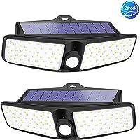VOSONX Solar Lights Outdoor - 100 LEDs Flood Light, Wireless Solar Motion Sensor Light, IP65 Waterproof Solar Security Lights - 270° Wide Angle Outdoor Lights for Garage, Backyard, Front Door (2 Pack)