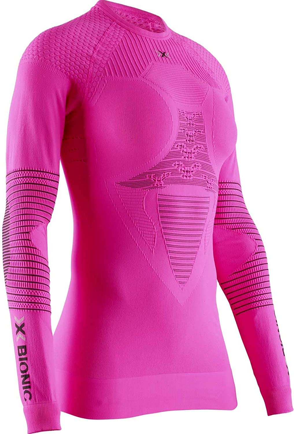 X-Bionic Energizer 4.0 Round Neck Long Sleeves Neon Flamingo//Anthracite Rosso Strato Base Camicia Funzionale Donna S