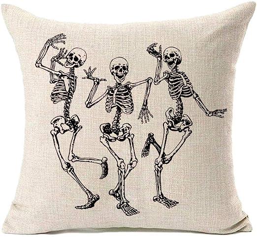halloween skeleton pillow cover