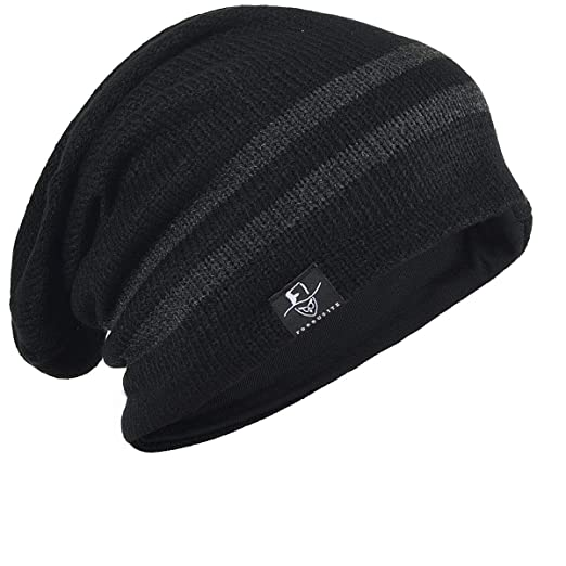 241e37abb56 Vintage Men Baggy Beanie Slouchy Knit Skull Cap Hat (B318-Black) at ...