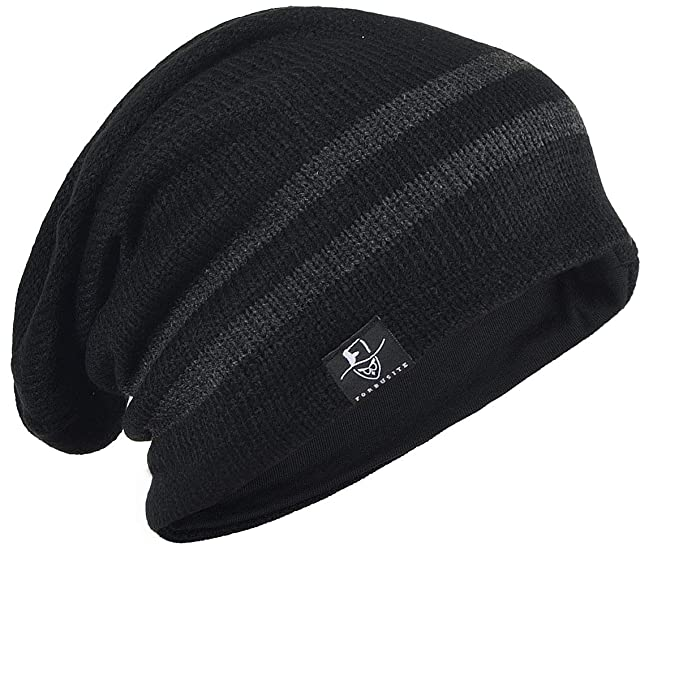 Vintage Men Baggy Beanie Slouchy Knit Skull Cap Hat (B318-Black) at ... b0b84a67e0a