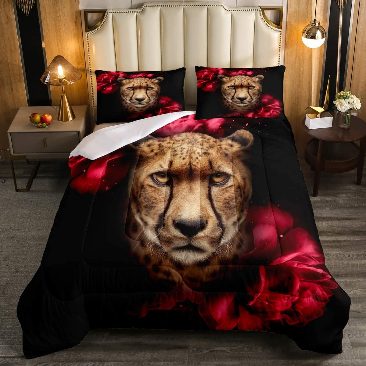 Erosebridal Cheetah Comforter Set, Leopard Print DownComforter Queen Size, African Animal and Flower Bedding Comforters, Home Fashion Bedroom Decor 3 Piece Bedding Comforters with 2 Pillow Cases