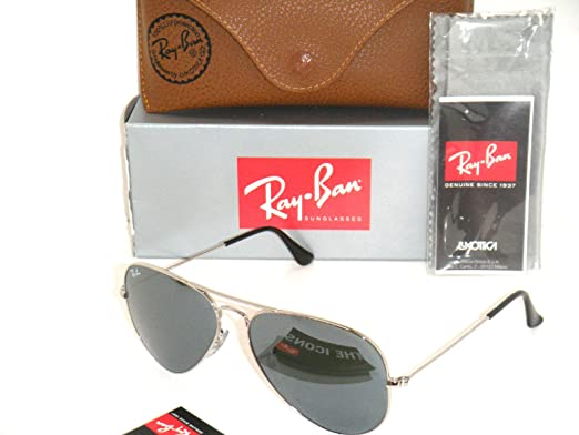 rb3025 58mm  Amazon.com: Authentic Ray Ban Aviator RB 3025 W3277 58mm Silver ...