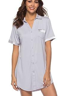 Etosell Womens Sleep Shirts Dress Nightgown Button Down Lapel Boyfriend  Sleepwear 812c66cb4