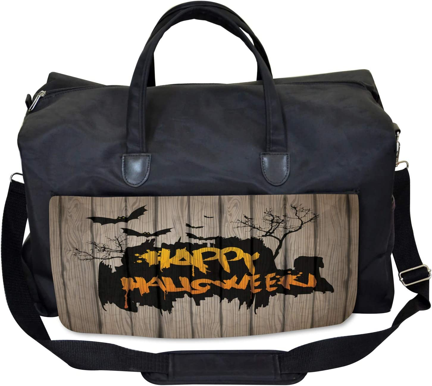 Large Weekender Carry-on Quote Bats Art Ambesonne Halloween Gym Bag